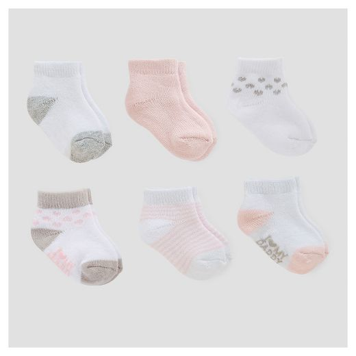 Baby Girls' 6pk Ankle Terry Socks - Just One You™ Made by Carter's® Pink/White/Gray