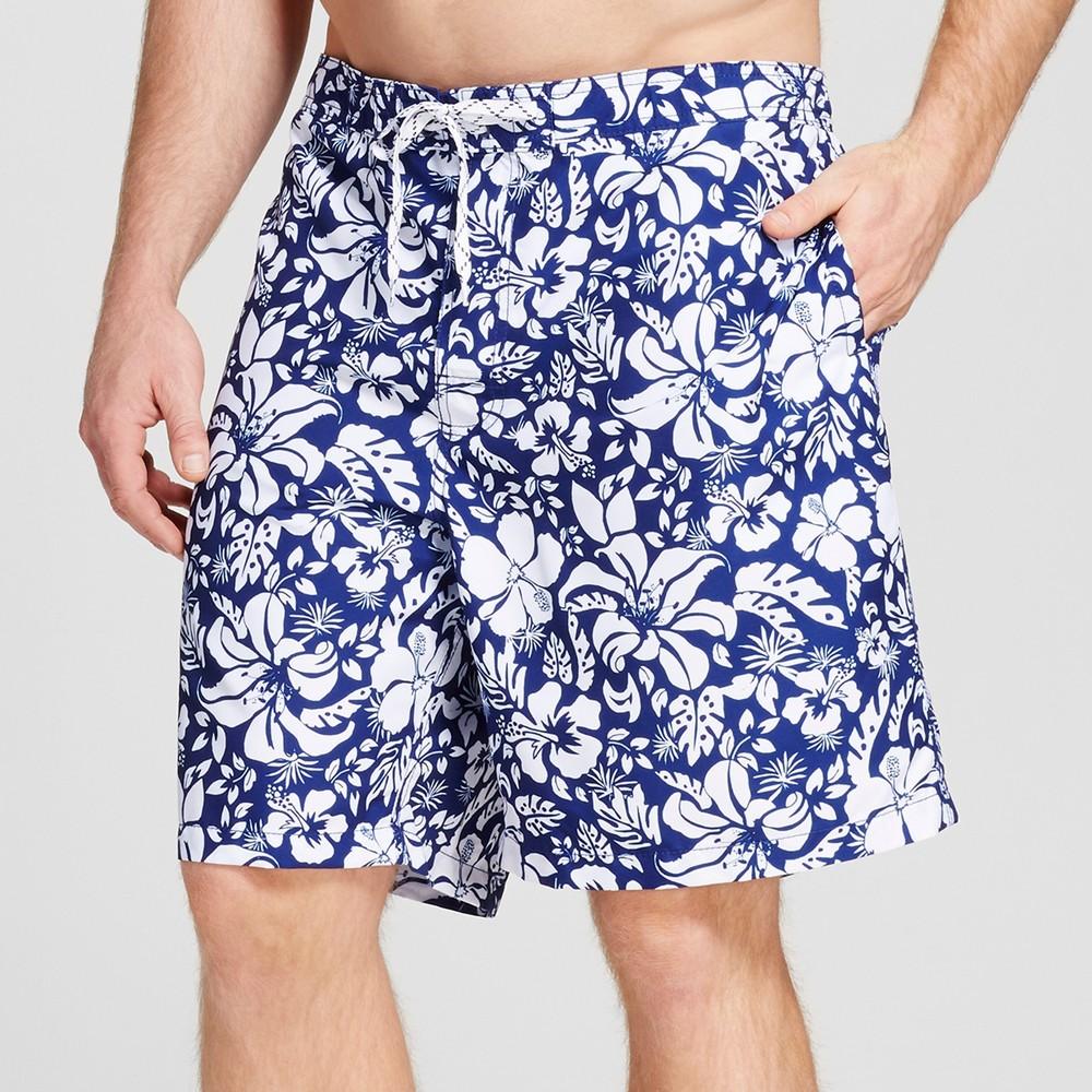 Mens Big & Tall Floral Print Swim Trunks - Merona Blue 5XB