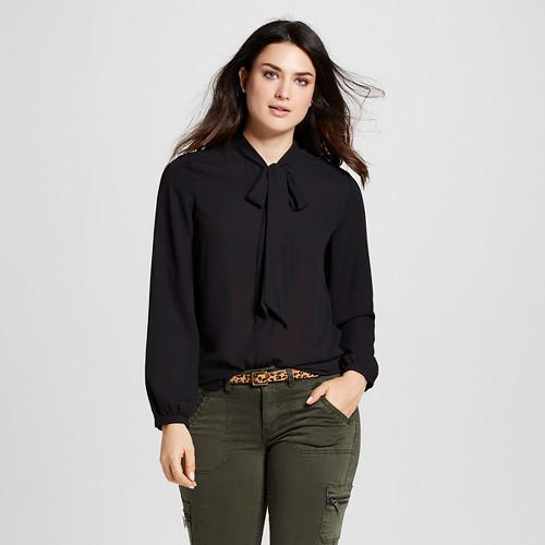 Women's Woven Blouse with Bow Tie Neck Black XL - Mossimo