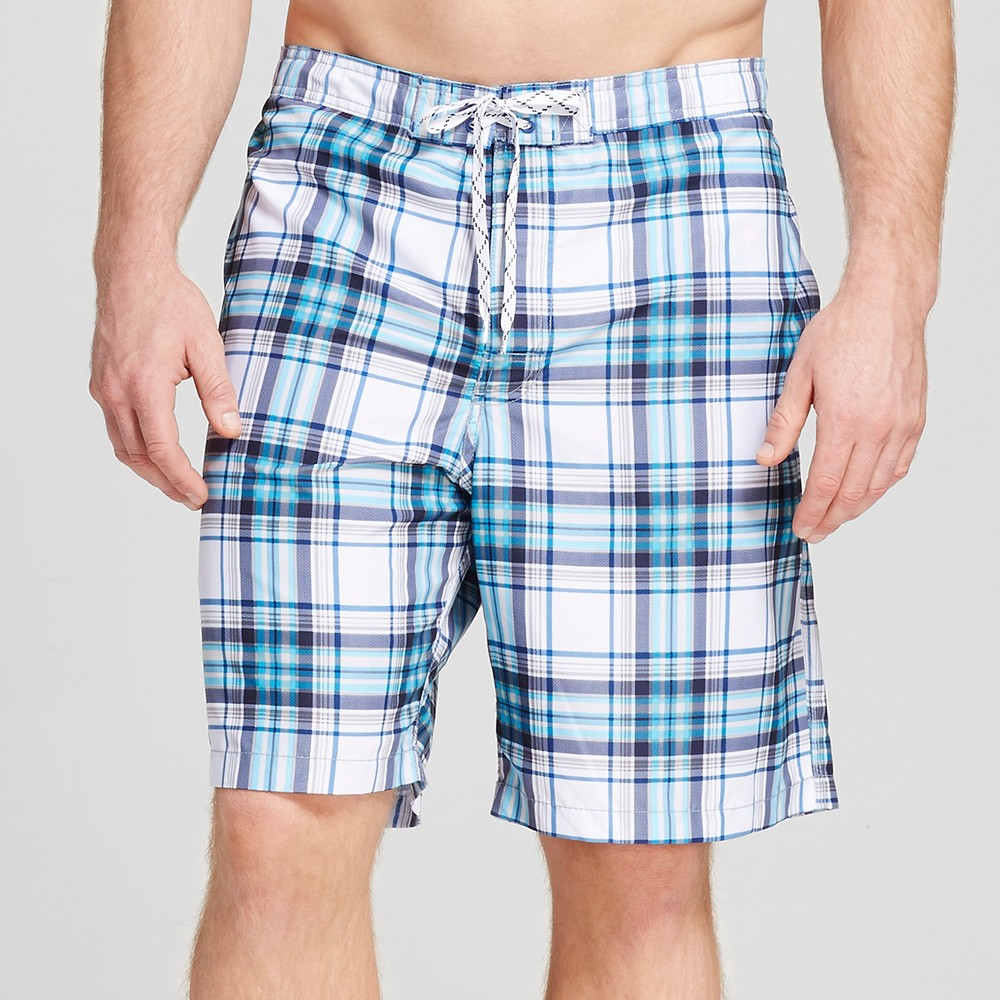 Mens Big & Tall Plaid Swim Trunks - Merona White 2XB, Blue
