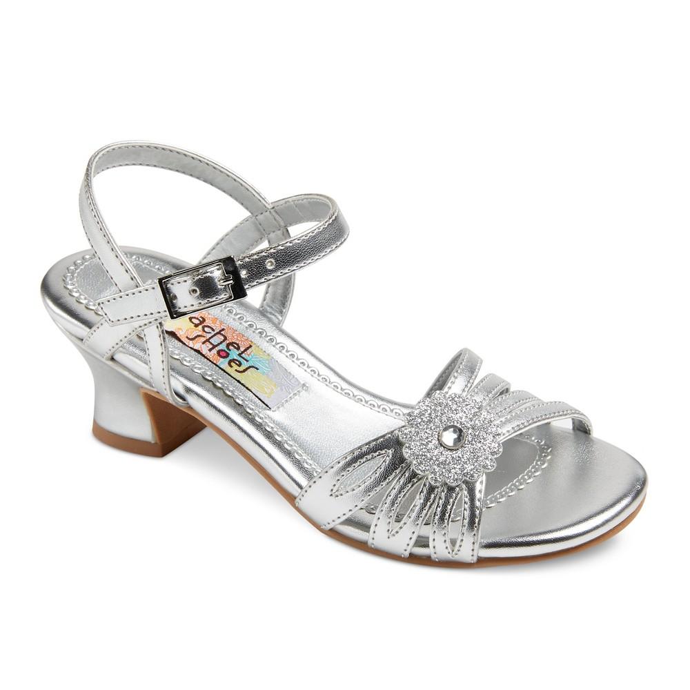 Girls Corrine Quarter Strap Gladiator Sandals Silver Metallic 13 - Rachel Shoes