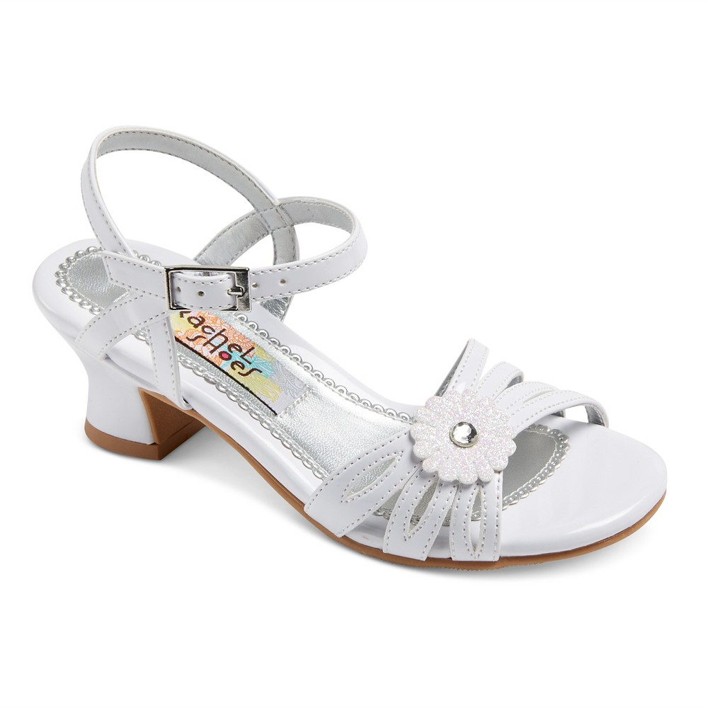 Girls Corrine Quarter Strap Gladiator Sandals White 13 - Rachel Shoes