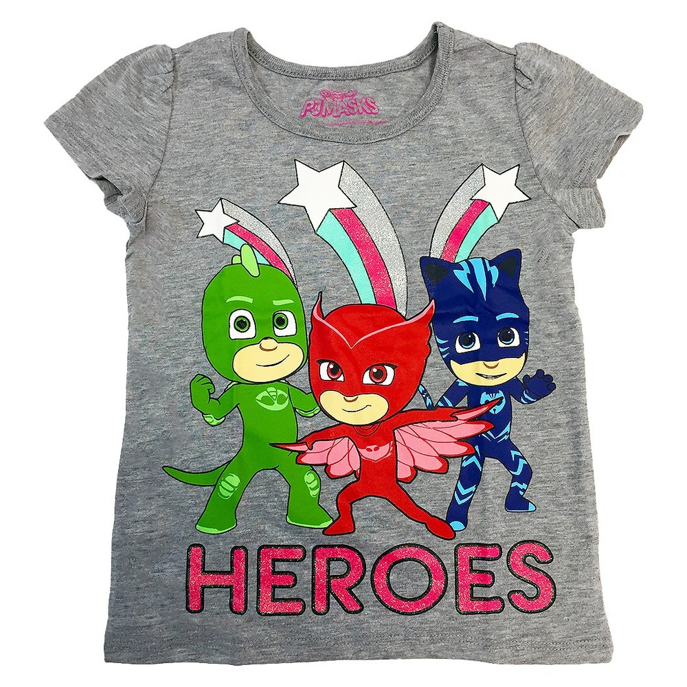 Toddler Girls PJ Masks Heroes Short Sleeve T-Shirt 3T - Gray