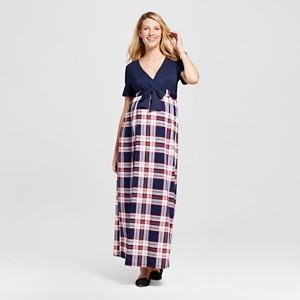 Maternity Plaid Short-Sleeve Maxi Dress - XL Pink MaCherie, Women
