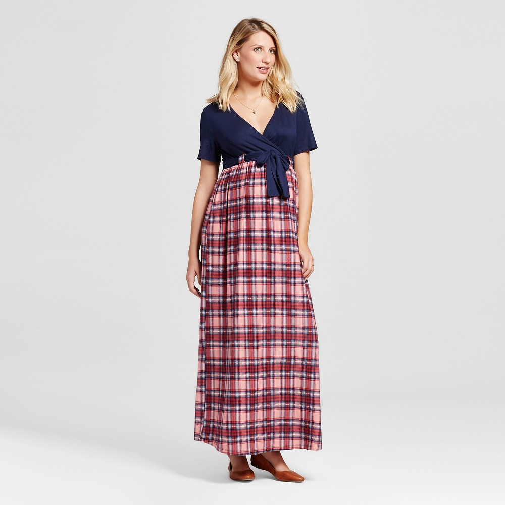 Maternity Plaid Print Short-Sleeve Maxi Dress – L Blue MaCherie, Women's