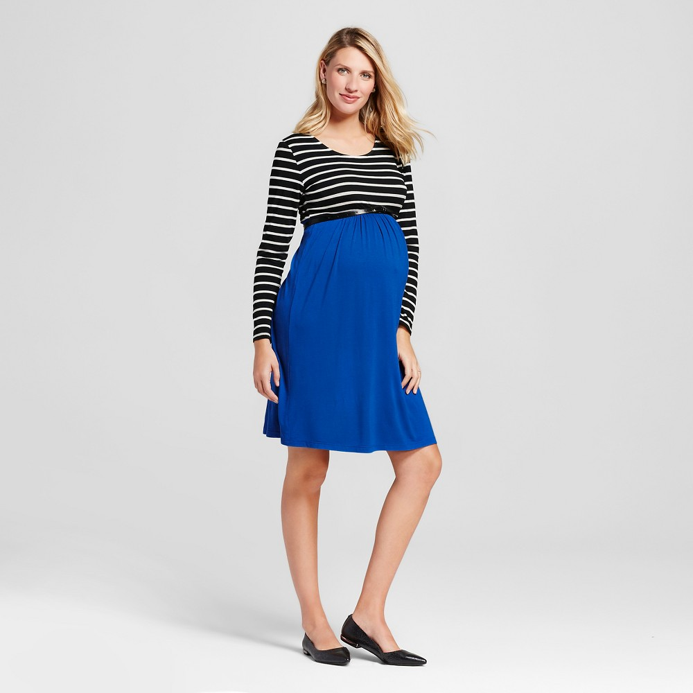 Maternity Striped Print Color Block Long-Sleeve Dress – XL Blue MaCherie, Women's