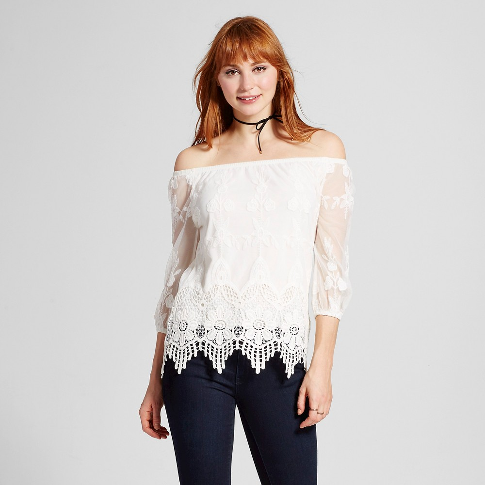 Women's Lace Off the Shoulder Top Ivory M – 3Hearts (Juniors'), White