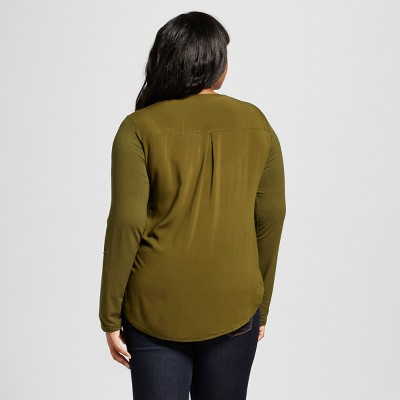 Women's Plus Size Mixed Media Popover Military Green 2X - Ava & Viv