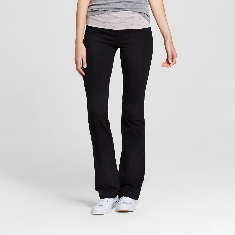 Women's Bootcut Pants with Foldover Waistband Black with Spacedye Band M - Mossimo Supply Co., Black With Space Dye Band