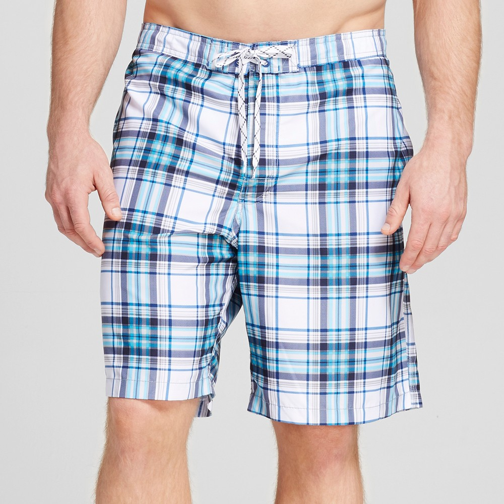 Mens Big & Tall Plaid Swim Trunks - Merona White 5XB, Blue