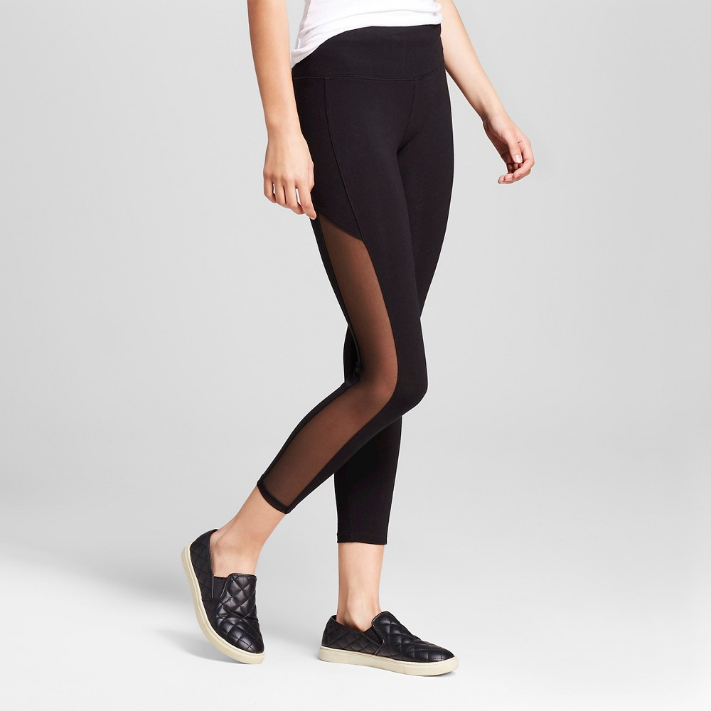 Womens Crop Leggings with Side Mesh Black XS - Mossimo Supply Co., Black With Mesh