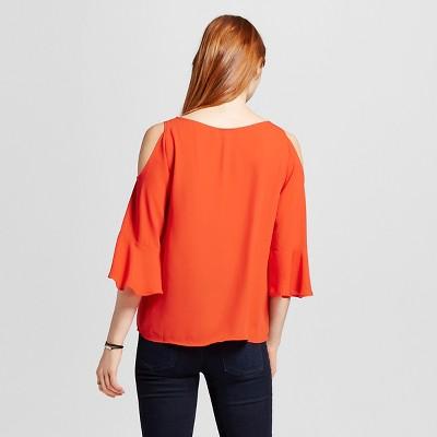 Women's Cold Shoulder Woven Top Orange XS - Mossimo