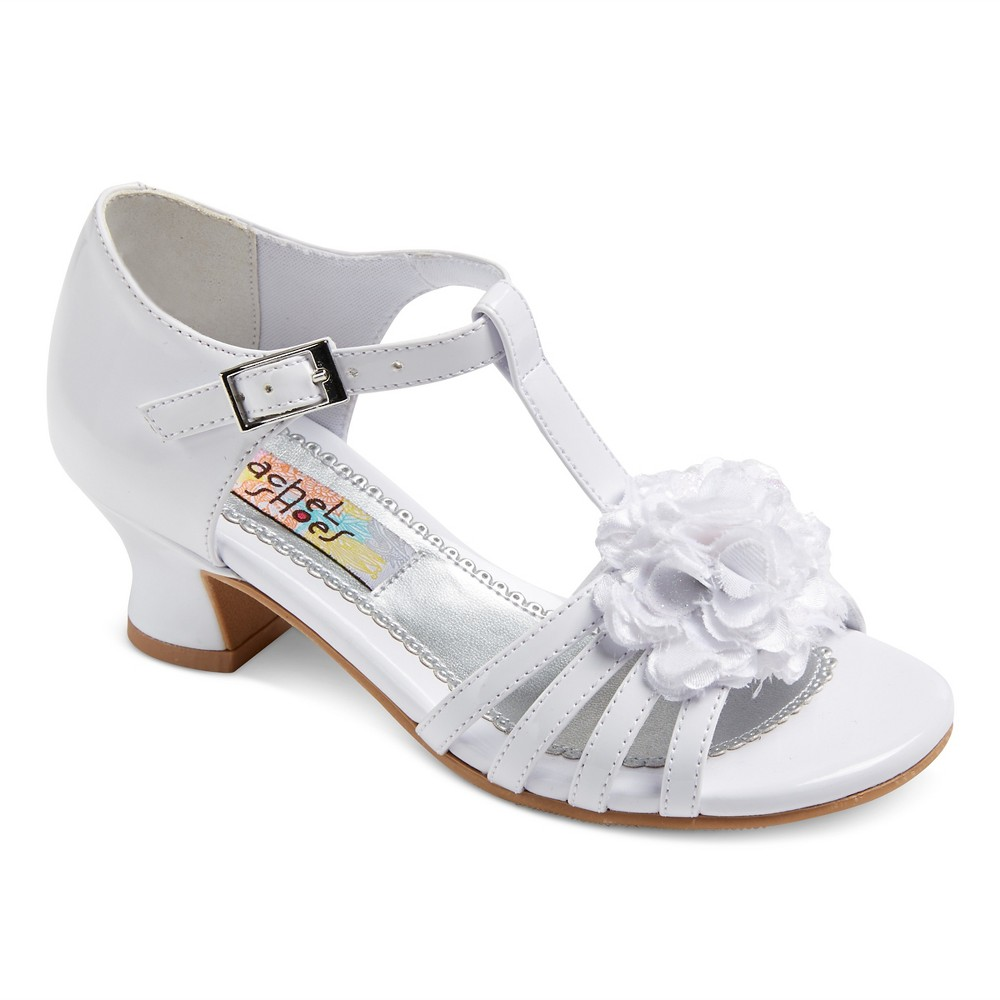 Girls Maybelle Quarter Strap Dressy Sandals White Patent 12 - Rachel Shoes
