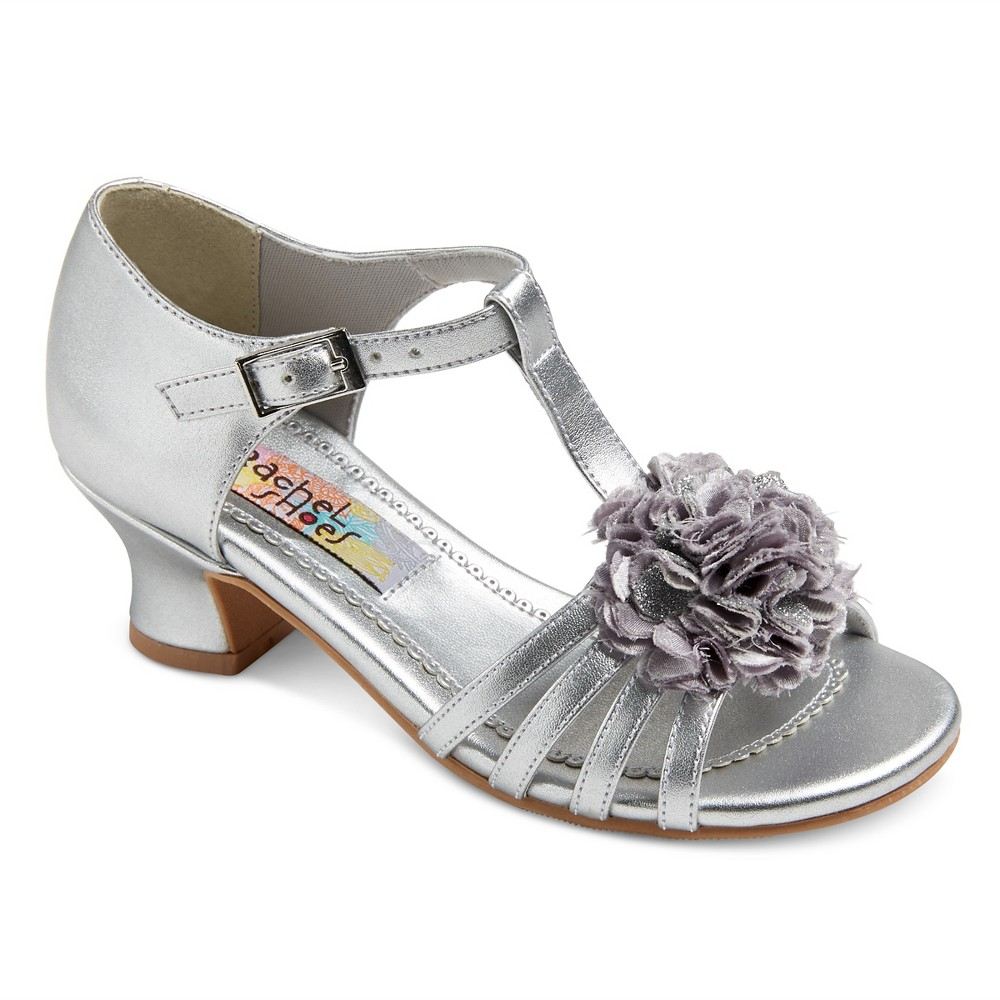 Girls Maybelle Quarter Strap Dressy Sandals Silver Metallic 13 - Rachel Shoes