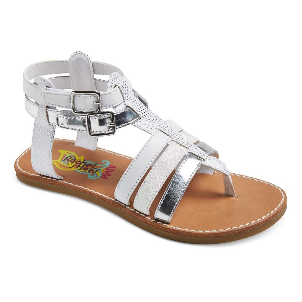 Girls Mercedes Dressy Gladiator Sandals White/Silver 4 - Rachel Shoes