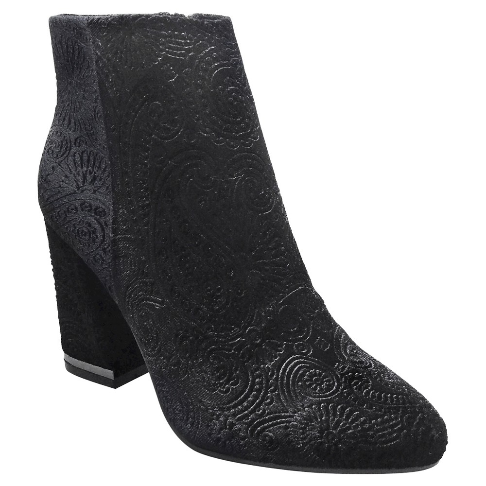 Women's Cora Paisley Velvet Booties Who What Wear – Black 6.5