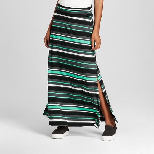Women's Striped Maxi Skirt Green/Gray/Black Stripe - Merona™ : Target