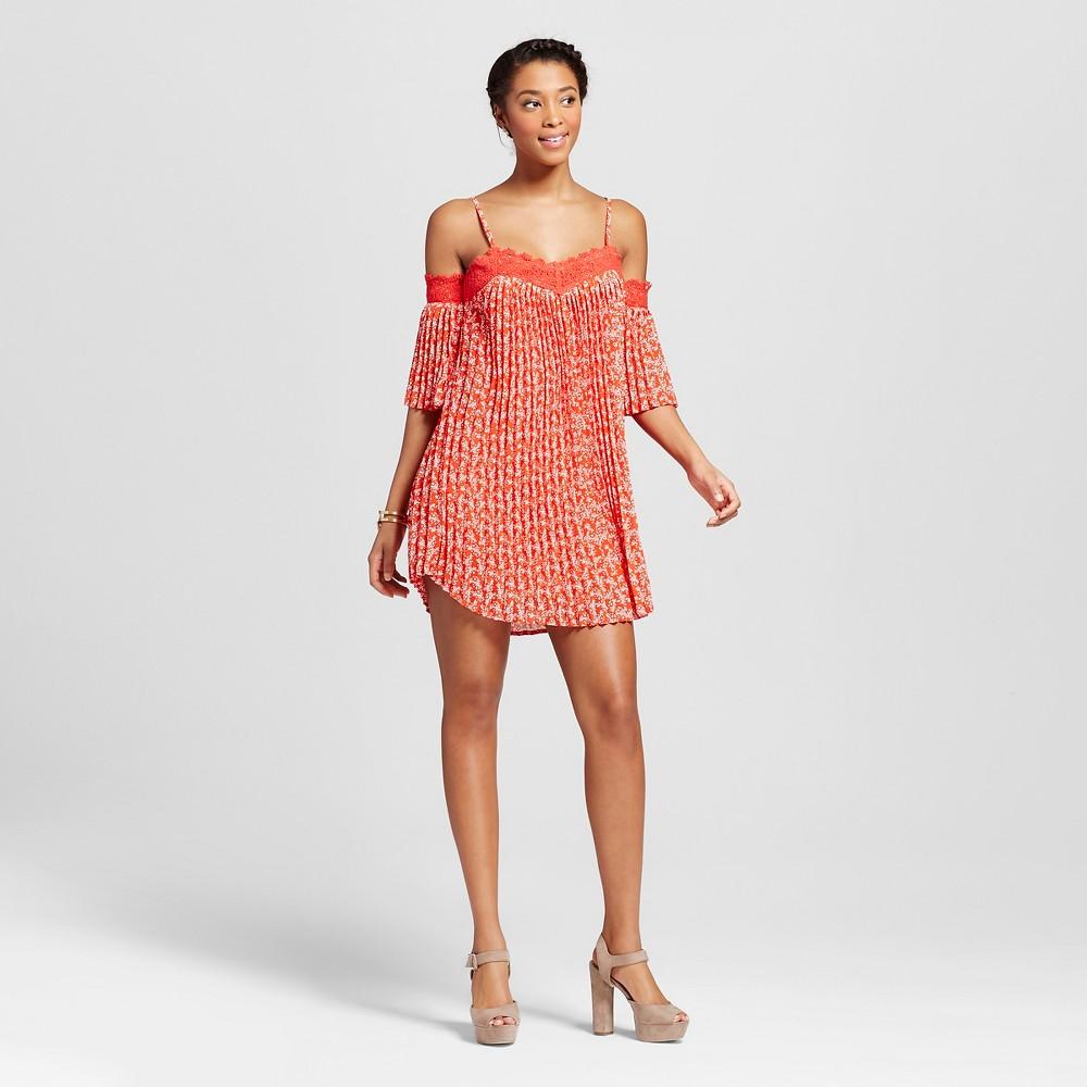 Women's Pleated Cold Shoulder Crochet Trim Dress Coral/White S – 3Hearts (Juniors'), White Orange