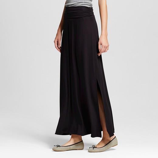 s maxi skirt solid black s merona target