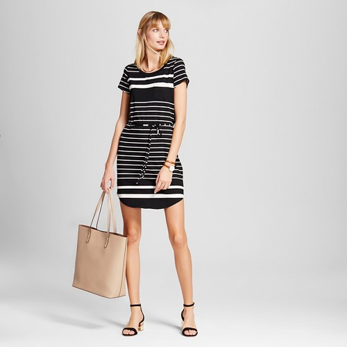 Women's Striped T-Shirt Dress - Merona Black/Cream XL, Black And White