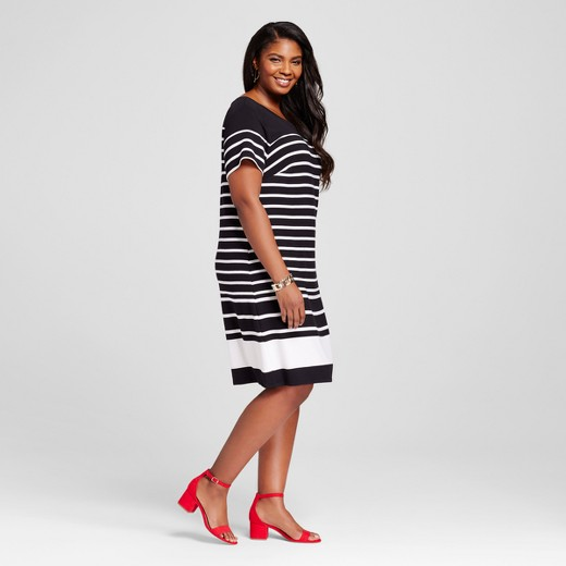Women\'s Plus Size Striped T-Shirt Dress - Ava & Viv™ : Target
