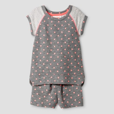 Baby Girls' Top And Bottom Set - Cat & Jack™ Dark Heather 12M