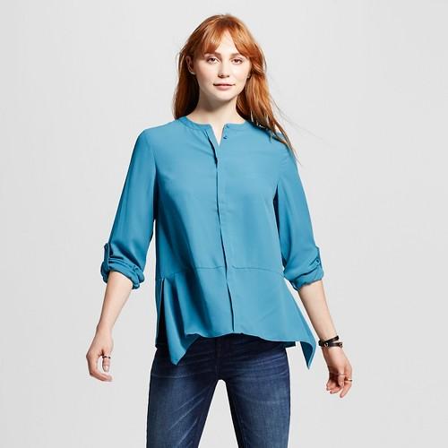 Women's Convertible Sleeve Sharkbite Woven Top Blue XL - Mossimo