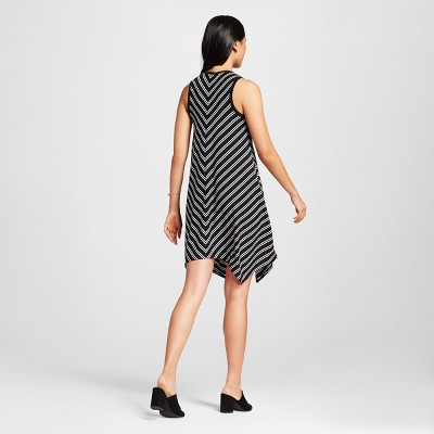 Women's Striped Sharkbite Tank Dress Black M - Mossimo