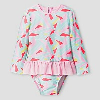 Toddler Girls' Geo Print One Piece Skirted Rash Guard Cat & Jack - Pink. opens in a new tab.