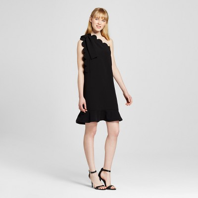 Women's Black One Shoulder Dress with Bow and Scallop Trim - Victoria Beckham for Target