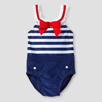 Baby Girls' Sol Swim Miss Sailor One Piece Swimsuit - Navy 18M
