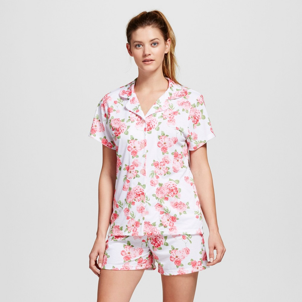 Bride & Beauties by Bedhead Pajamas Womens Notch Collar Classic Cabbage Rose Shorty Pajama Set - White M