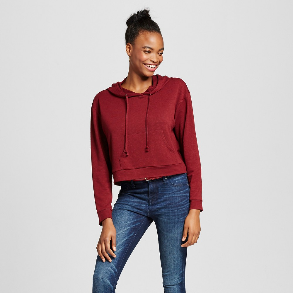 Women's Cropped Hoodie Burgundy (Red) L - Mossimo Supply Co. (Juniors')