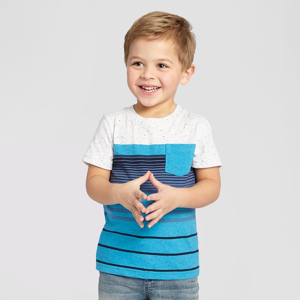 Toddler Boys' Striped T-Shirt - Cat & Jack Blue, Size: 5T