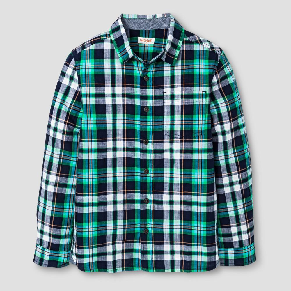 Boys Long Sleeve Button Down Shirt - Cat & Jack Green M Husky