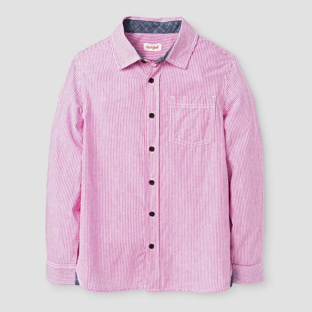 Boys Long Sleeve Button Down Shirt - Cat & Jack Very Pink Husky XL, Size: XL Husky