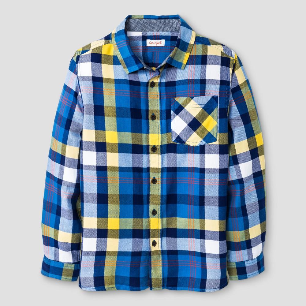 Boys Long Sleeve Button Down Shirt - Cat & Jack Bluebell Husky Xxl, Size: Xxl Husky, Blue