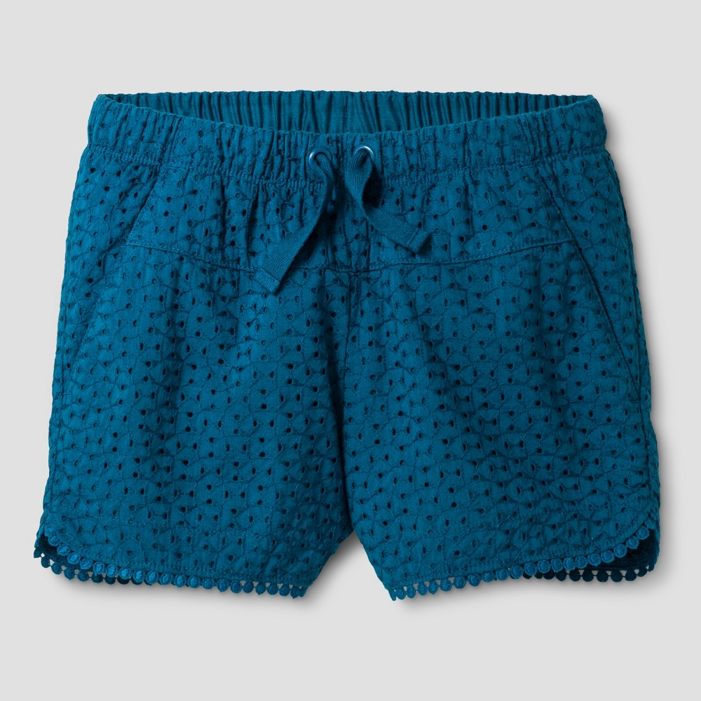 Plus Size Girls Eyelet Shorts - Cat & Jack Jade Green L Plus
