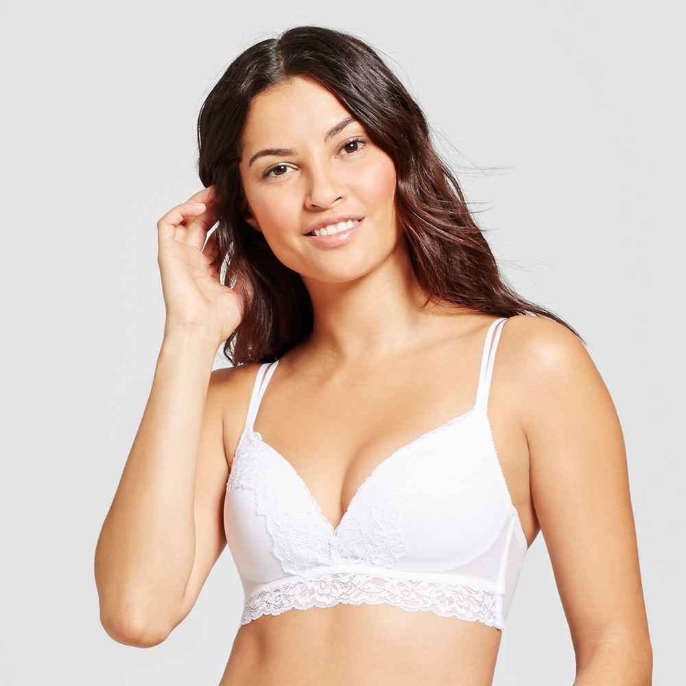Maidenform Self Expressions Womens Show Off Foam Lace Bralette - White 38C