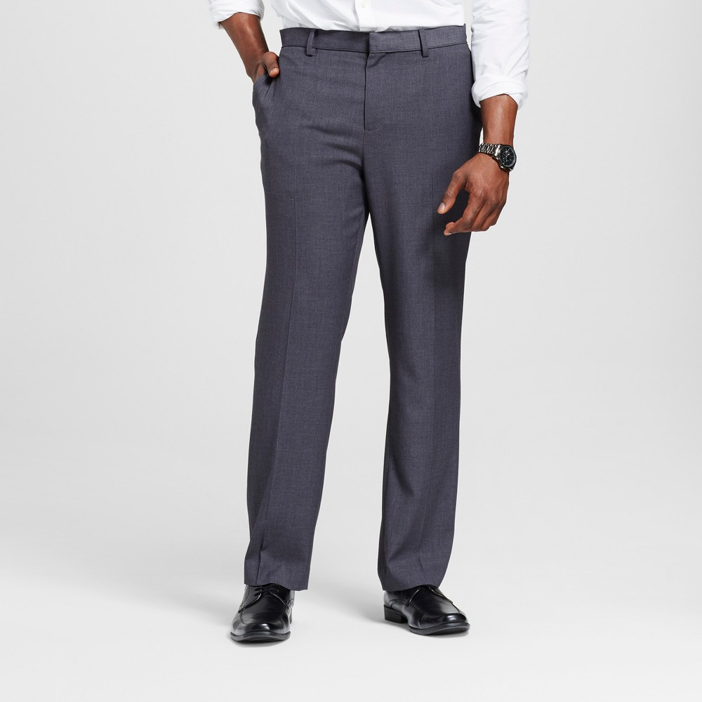 Mens Big & Tall Slim Fit Suit Pants - Merona Gray 34x36