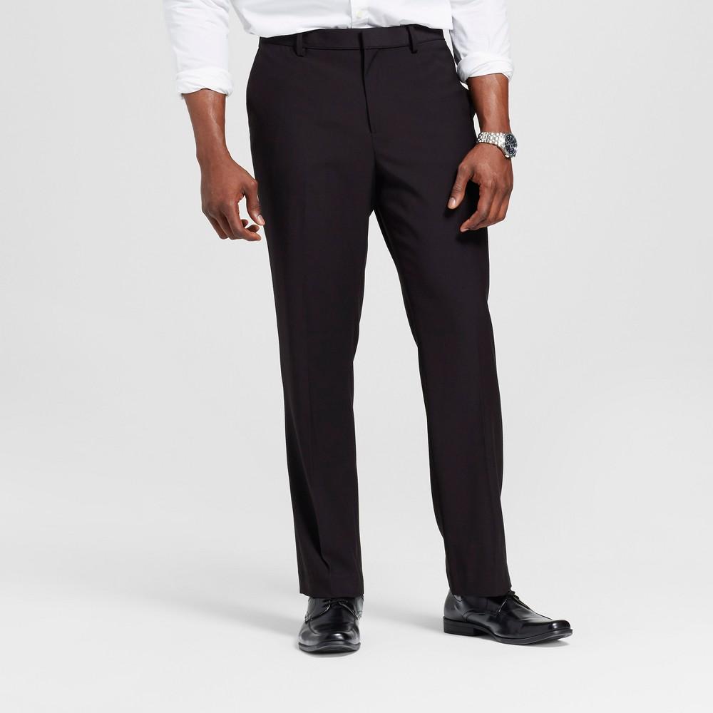 Mens Big & Tall Slim Fit Suit Pants - Merona Black 42x36