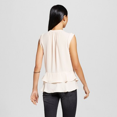 Women's Button Front Peplum Top Blush XS - Mossimo