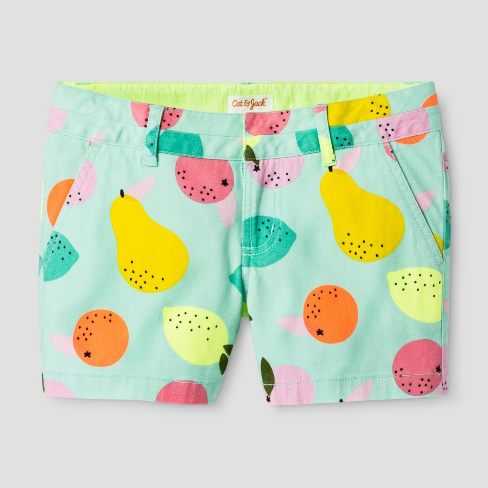 Plus Size Girls' Fruit Print Chino Shorts - Cat & Jack Aqua Float XL Plus