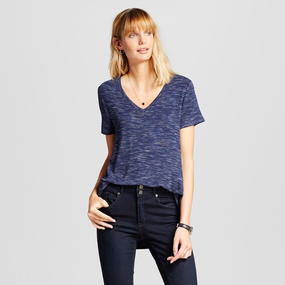 Women's Heather Softest V-Neck T-Shirt Navy L - Merona, Blue