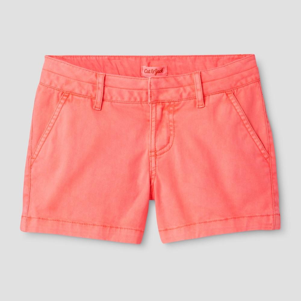Girls Chino Shorts - Cat & Jack Sunrise Coral L