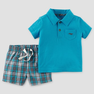 Baby Boys' 2pc Plaid Polo Set - Just One You™ Made by Carter's Blue NB