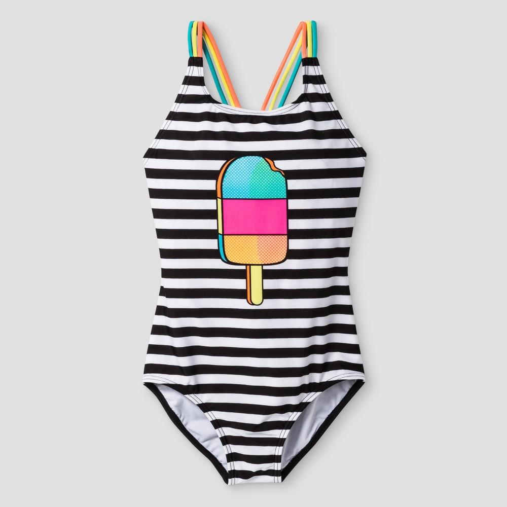 Girls One Piece Swimsuit Popsicle Stripe - Cat & Jack Black S