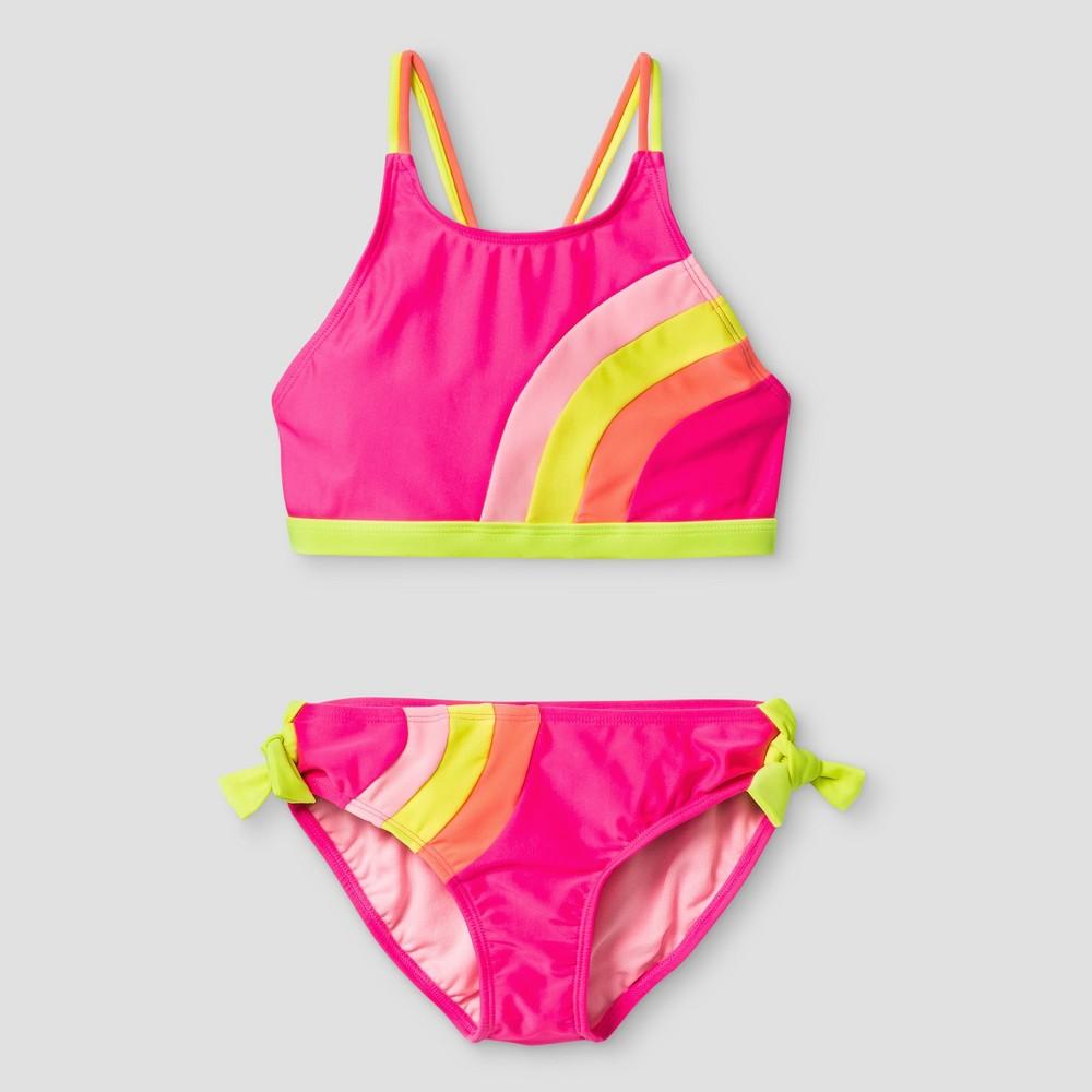 Girls High Neck Color Block Bikini - Cat & Jack Pink XL
