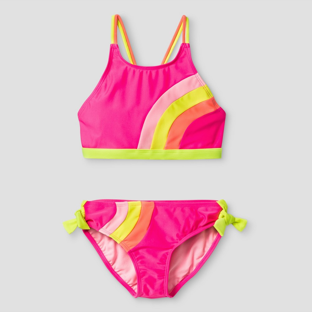 Girls High Neck Color Block Bikini - Cat & Jack Pink XS