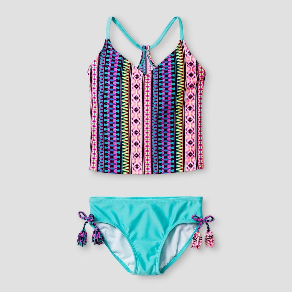 Plus Size Girls Tankini Tribal Print - Xhilaration Aqua M Plus, Blue
